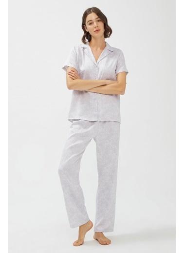 Penti Gri Stone Saten Pijama Takımı Renkli